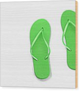 Where On Earth Is Spring - My Green Flip Flops Are Waiting Wood Print by Andee Design