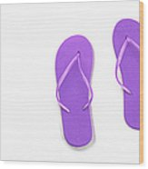 Where On Earth Is Spring - My Purple Flip Flops Are Waiting Wood Print