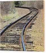 Where The Tracks Bend Wood Print
