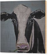 Whimisical Holstein Cow Original Painting On Canvas Wood Print