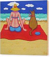 Whimsical Beach Seashore Woman And Dog Wood Print