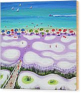 Whimsical Beach Umbrellas - Seashore Wood Print