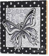 Whimsical Black And White Butterfly Original Painting Decorative Contemporary Art By Madart Studios Wood Print