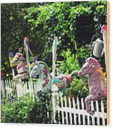 Whimsical Carousel Horse Fence Wood Print