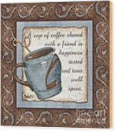 Whimsical Coffee 2 Wood Print by Debbie DeWitt