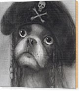 Whimsical Funny French Bulldog Pirate  Wood Print