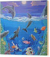 Whimsical Original Painting Undersea World Tropical Sea Life Art By Madart Wood Print