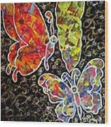 Whimsical Painting- Colorful Butterflies Wood Print