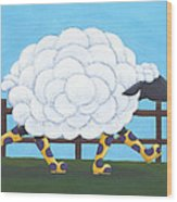 Whimsical Sheep Art Wood Print by Christy Beckwith