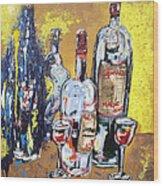 Whimsical Wine Bottles Wood Print