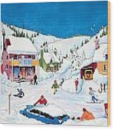 Whimsical Winter Village Wood Print