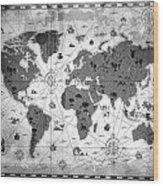 Whimsical World Map Bw Wood Print