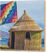 Whiphala Flag On Floating Island Wood Print