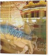Whirling Carousel Wood Print
