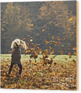 Whirling With Leaves Wood Print