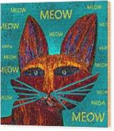 Whiskers Meowing Wood Print