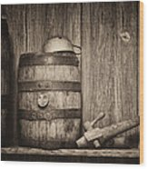 Whiskey Barrel Still Life Wood Print