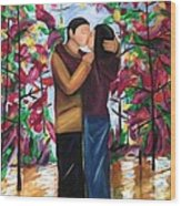 Whispering Kiss Wood Print by D August