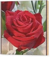 Whispers Of Passion And Love Red Rose Greeting Card  Wood Print