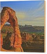 Whispy Clouds Over Delicate Arch Wood Print