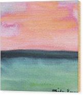 Whispy Pink/organge Sky Wood Print