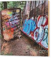 Whistler Train Wreck Covered In Graffiti Wood Print