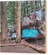 Whistler Train Wreckage Among The Trees Wood Print