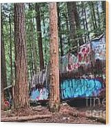Whistler Train Wreckage In The Trees Wood Print