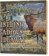 Whistling Meadows Elk Wood Print by JQ Licensing