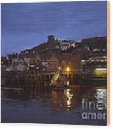 Whitby Lower Harbour And The Rnli Lifeboat Station At Night Wood Print