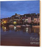 Whitby Lower Harbour At Night Wood Print