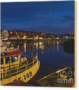 Whitby Upper Harbour At Night Wood Print