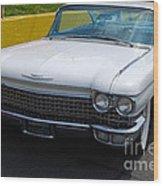 White 1960 Caddy Wood Print