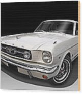 White 1966 Mustang Wood Print