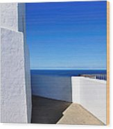White And Blue To Ocean View Wood Print