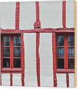 White And Red Half-timbered House Detail Wood Print