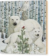 White Animals Red Bird Wood Print