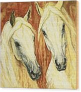 White Arabian Horses Wood Print