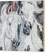White Arabians Wood Print