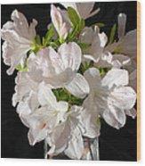 White Azalea Bouquet In Glass Vase Wood Print