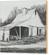 White Barn On Bluff Road Wood Print by Garry McMichael