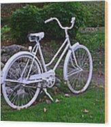 White Bicycle Wood Print