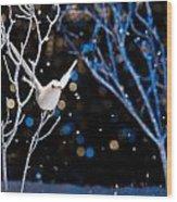 White Bird In Winter Wood Print
