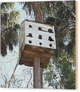 White Birdhouse Wood Print
