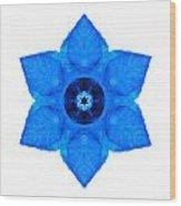 Blue Pansy II Flower Mandala White Wood Print