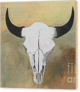 White Buffalo Skull Wood Print