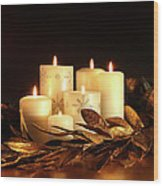 White Candles With Gold Leaf Garland  Wood Print