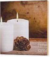 White Candles With Rose Wood Print