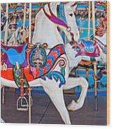 White Carousel Horse Wood Print
