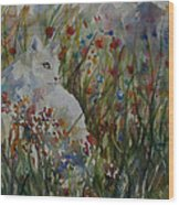 White Cat In Flowers Wood Print